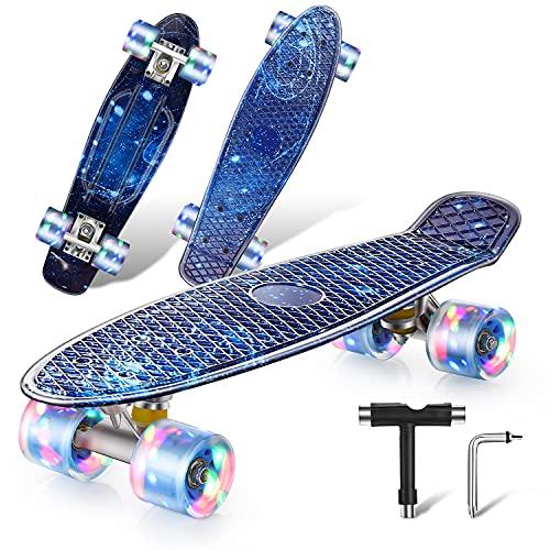 Colmanda Mini Cruiser Skateboard, 22  56cm Monopatín Skateboard Retro con PU Ruedas Luminosas y Rodamiento ABEC-7, Skateboard Completo para Principiantes, Adolescentes, Niños y Niñas