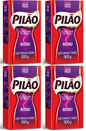Pilão Intense Coffee Roasted and Ground oz Café Intenso Torrado e Moído 500g, 17.6 Ounce, (Pack of 4)