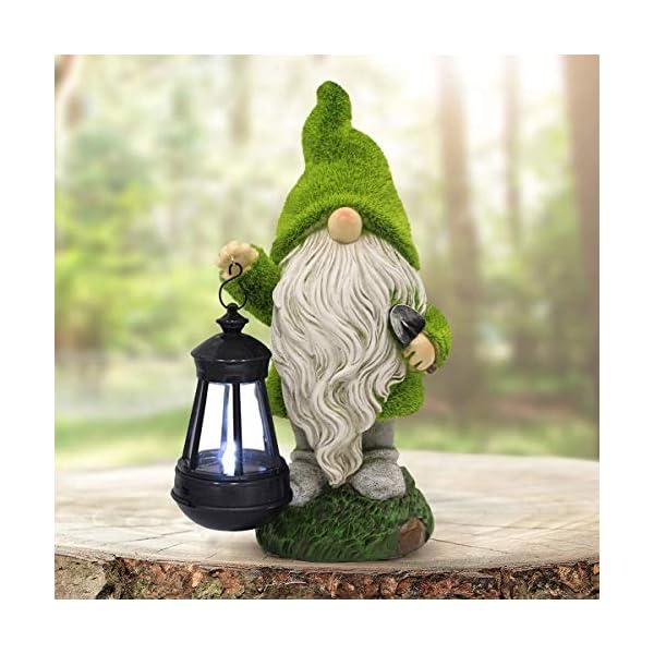 Solar Garden Statue of Gnome Figurine with Solar Lantern – Outdoor Lawn Decor...