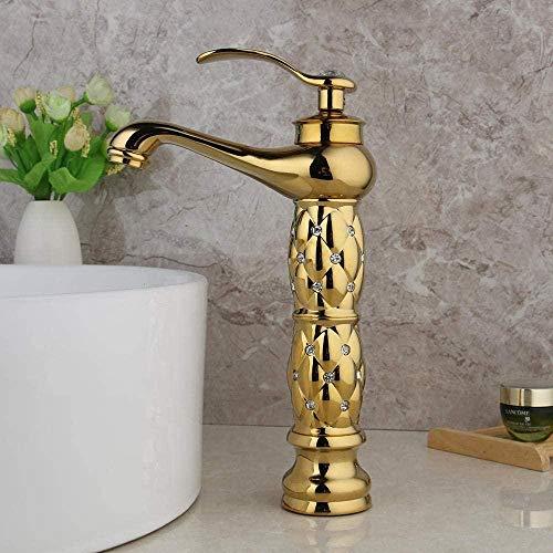 Grifo de baño dorado Grifo de esmalte alto de diamante de punta corta Grifo de lavabo montado en la pared con grifo mezclador de 1 manija
