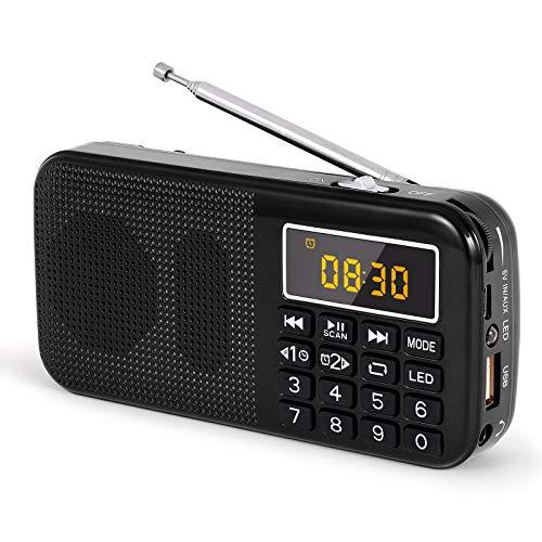 PRUNUS J-725C Tragbares Radio Wecker.Kleines Radio mit Große Batteriekapazität (3000mAh),Uhr UKW/FM SD USB MP3 Radio mit Notlichtfunktion. Speichert Stationen automatisch (Nicht manuell)