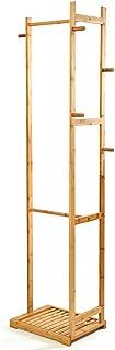 comprar comparacion bambuswald© Perchero de bambú sostenible166 x 41 x 31 cmǀPerchero de pie con Varios Barras, Ganchos y Zapatero:Robusto...