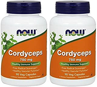 Now Cordyceps 750 mg,90 Veg Capsules (180)