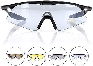 MAATCHH Gafas Ciclismo Gafas de Ciclismo Anti-Ultravioleta Conductores de Motocicletas Gafas Deportivas Gafas a Prueba de Viento de Peso Ligero a Prueba de V (Color : Black Frame+Blue Film)