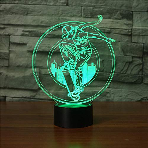 JSDGJSG 3D Illusion LED Night Light (Skateboard boy),16 Colors Lamp Gradual Changing Touch Switch USB Table Lamp for Holiday Gifts or Home Decorations