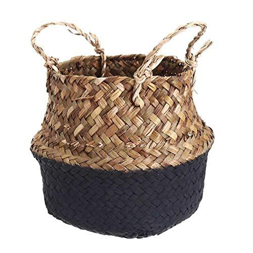 SASDA Seagrass Basket Natural Seagrass Storage Baskets Handmade Woven Household Foldable Hanging Flowerpot Flower Vase Home Decor 13X11cm,Black