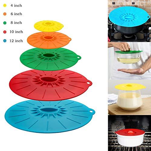 Coque en silicone Aspiration couvercles Lot de 5 tailles différentes 11 889 770,5 cm pression scellé pour bols, tasses, pots de casseroles, poêles, micro-ondes et coque en silicone Bol couvertures