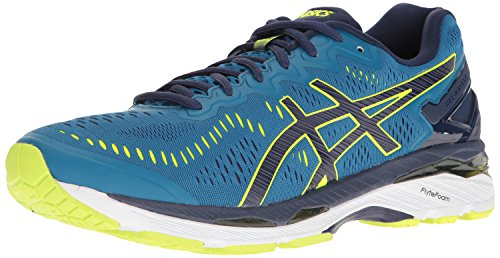 ASICS Men's Gel-Kayano 23 Running Shoe, Thunder Blue/Safety Yellow/Indigo Blue, 8 M US