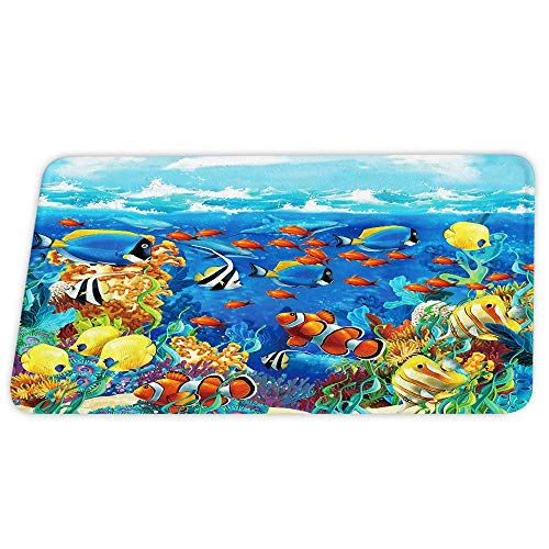 Underwater World Coral Dolphins and Tropical Fish Coral Velvet Bath Rugs Non Slip Shower Mat for Bathroom Decor Sets Door Rug with Rubber Backing Absorbent Kitchen Floor Carpet