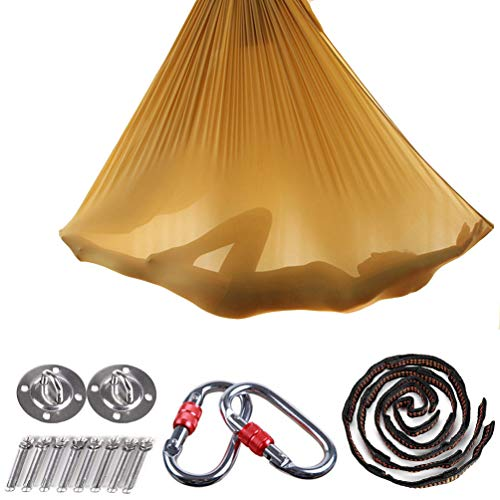 Brinny Yoga DIY Silk Pilates Premium Aerial Silks Equipment Aerial Yoga Cloth Hammock Set Elastic Deluxe Aerial Kit Antigravity yoga Swing with Carabiner & Daisy Chain Accessories 5Mx2.8M (Gold)