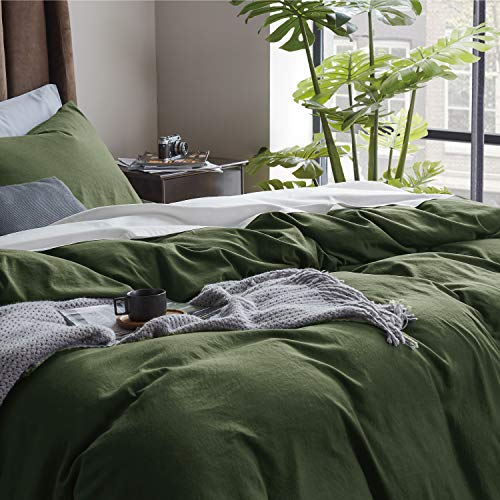 Bedsure Olive Green Duvet Covers Queen Size - Washed Cotton Like Soft Queen Duvet Cover Set 3 Pieces with Zipper Closure, 1 Duvet Cover 90x90 inches and 2 Pillow Shams
