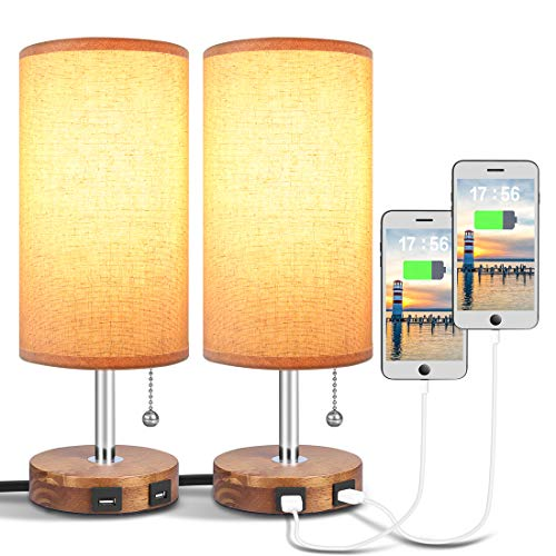 USB Table Lamp, Bedside Desk Lamp with Dual USB Charging Ports, Round -