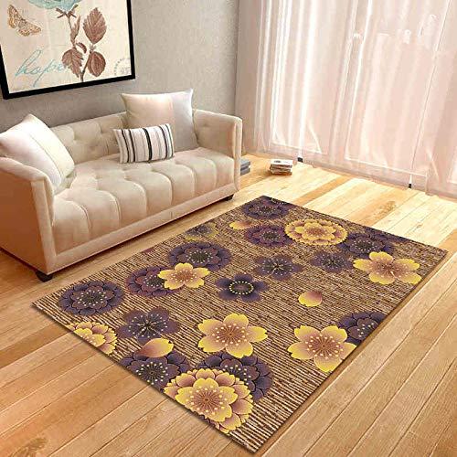 Vlejoy Moderne Home Designer Teppich Büro braun geometrische Blumenmädchen Schlafzimmer Schreibtisch Couchtisch Pad langlebig rutschfest-80 * 160cm