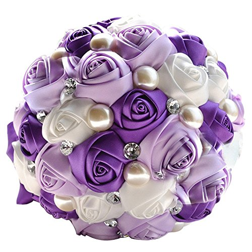 Abbie Home Romantic Bride Wedding Holding Bouquet Roses-Pearl Rhinestone Ribbon Décor (205PU)