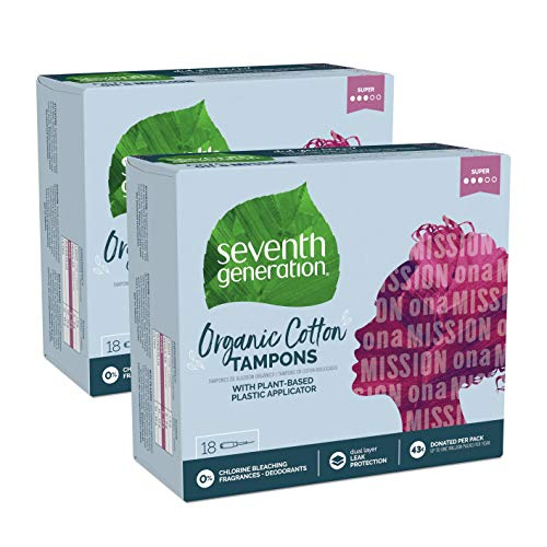 Seventh Generation Tampons with Comfort Applicator, Organic Cotton, Super Absorbency, 18 count, 2 pack (Packaging May Vary)