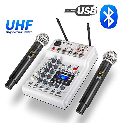 Audio DJ Console Mixer Soundkarte mit 2Channel UHF Wireless-Mikrofon für Heim-PC Studio Recording DJ Netzwerk Live-Karaoke