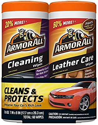 Armor All Car Cleaning and Leather Wipes - Interior Cleaner for Cars & Truck & Motorcycle, 30 Count (Pack of 2), 18781