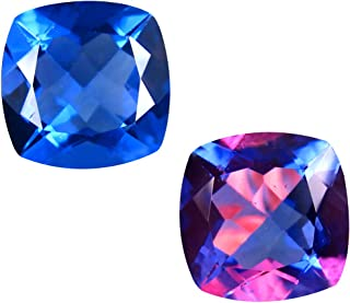 Deluxe Gems 4.66 ct Cushion (10 x 10 mm) Brazil Color Change from Blue to Purplish Red Fluorite Natural Loose Gemstone