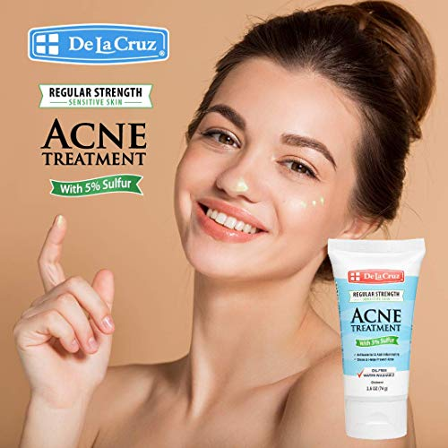De La Cruz® 5% Sulfur Acne Treatment, for Sensitive Skin and Water-Washable to Clear Face and Body Acne, for Adults and Teens, 2.6 Ounces
