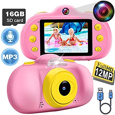 Kids Camera for Girls Boys Toddlers, 1080P FHD Selfie Digital Camera 12 MP DUAL Lens Selfie Camera Shockproof Children Camera with Puzzle Game/MP3, Children Birthday Holiday Toy Gifts (16GB SD Card ) by iCooLive