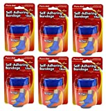 Pure-Aid Self-Adhering Athletic Bandages - 6-Pack - 3-inch (Blue)