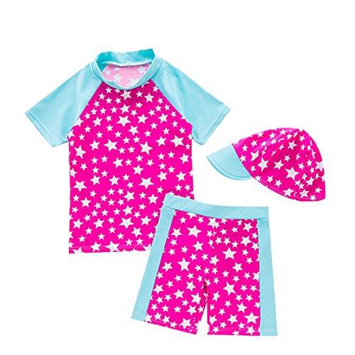 G-Kids Baby Mädchen Badeanzug Bademode Schwimmbekleidung UV Badeanzug UV-Schutz Schwimmanzug Stern Bade-Set Mit Hut (Rosa, 5-6 Jahre) Etikette 6
