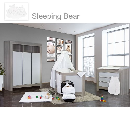 Babyzimmer Felix in akaziengrau 21 tlg. mit 3 türigem Kl. Sleeping Bear weiss