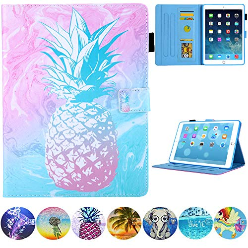 JZCreater Case for iPad 9.7 2018 2017 / iPad Air 2 / iPad Air Case - Flip Stand PU Leather Wallet Case, Auto Sleep/Wake Function Smart Cover, PK-Pineapple