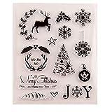Feliz Navidad Decors bolas de alce de ciervo copos de nieve sellos transparentes para hacer tarjetas, decoración y scrapbooking sellos de goma para manualidades