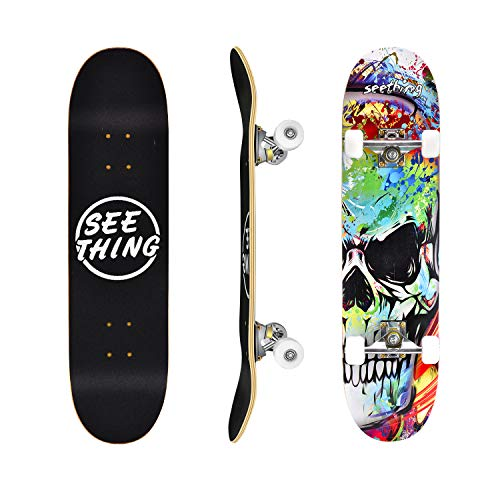 """31"""" Standard Skateboards for Beginners, 7 Layer Canadian Maple Double Kick Concave Standard and Tricks Skateboards for Kids and Beginners(Skull Heads)"""