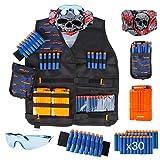 LVHERO El Kit Chaleco Táctico para Nerf N-Strike Elite Series con Dardos de Recarga, Bolsa de Dardos, Pulsera, máscara de Tubo Facial, Clips de Recarga rápida y Gafas Protectoras para niños