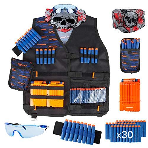 LVHERO Kit di Giubbotto Tattico per Nerf Pistole con Freccette, Custodia per Freccette, Cinturino da Polso, Maschera, Clip e Occhiali Protettivi per i Ragazzi