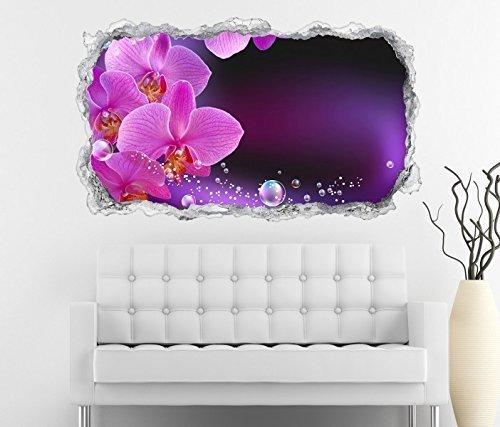 3D Wandtattoo Orchidee Blume lila rosa Wasser Wand Aufkleber Durchbruch Stein selbstklebend Wandbild Wandsticker 11N518, Wandbild Größe F:ca. 162cmx97cm