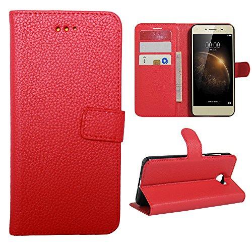 Lapinette Funda de Piel Compatible con Huawei Y5-II - Carcasa con Tapa Libro Tipo Folio - Funda de Piel Sintética Huawei Y5-II Tapa y Cartera - Cierre Magnético Rojo