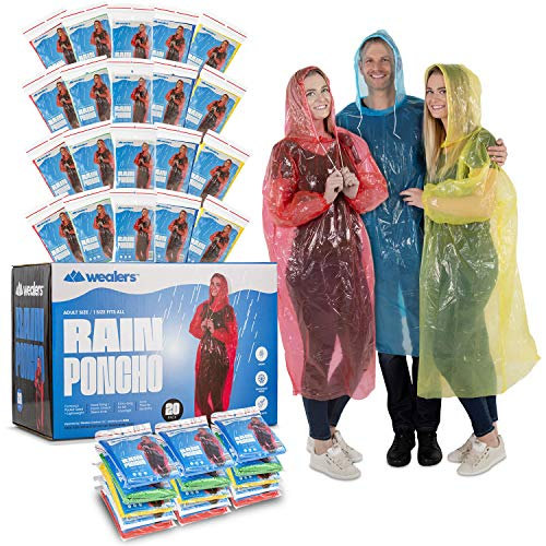Wealers Rain Poncho Bulk Family Pack Thick Disposable Ponchos for Adults Teens for Women Men Emergency Raincoat with Hood Strings & Sleeves for Theme Parks Camping Outdoors Multi Colors Waterproof