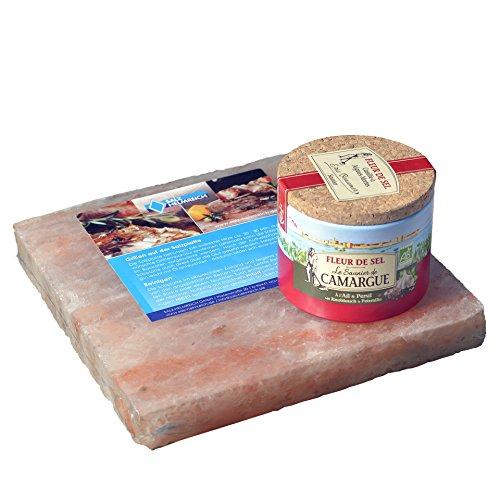 Salz-Helmreich GmbH 1 Salzstein 20x20x2,5cm BBQ Salzplatte zum Grillen + 1 Fleur De Sel Knoblauch/Petersilie Dose mit 125g
