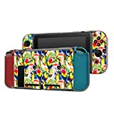 Dockable Case Compatible with Nintendo Switch Console and Joy-Con Controller, Patterned ( Watercolor Parrots on Tropical Floral Background ) Protective Case Cover with Tempered Glass Screen