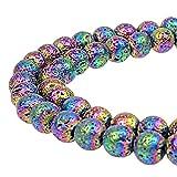 jartc Perles pour Energy Bracelets Bracelet de Yoga Bracelet DIY Perles en Pierre Naturel Lave Couleur Roche Volcanique 38 Pièces, 34CM, 10 mm
