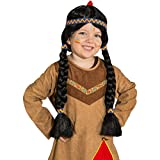 Amakando Indios Peluca Pocahontas Trenzado Peluca Apache Peluca Indios Peluca Infantil niña Carnaval Disfraces de Indio Peluca Negra Peluca de Pelo Largo