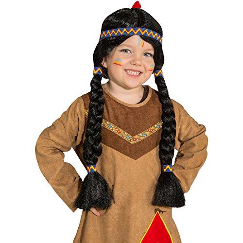NET TOYS Indianerperücke Kinder Indianer Perücke Apache Kinderperücke Pocahontas Zopfperücke Schwarze Langhaarperücke Squaw Faschingsperücke Mädchen Karneval Kostüme