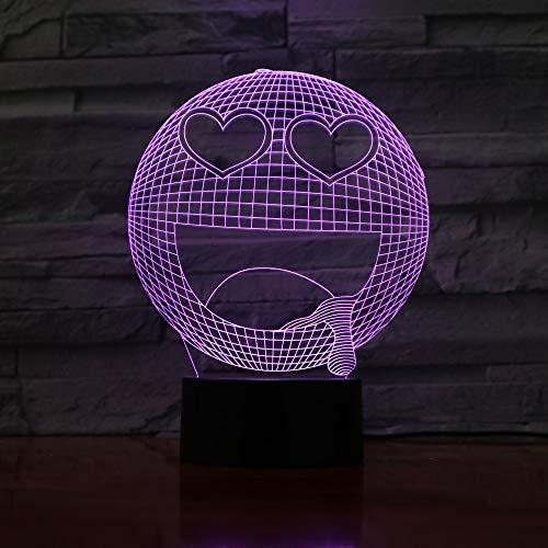 Led Nachtlicht Emoji Smiley 3D Optical Illusion Lampe Nachttischlampe Für Kinder 7 Farben Ändern Mit Touch + Fernbedienung,Kinder Schlafzimmer Weihnachten Geburtstagsgeschenke
