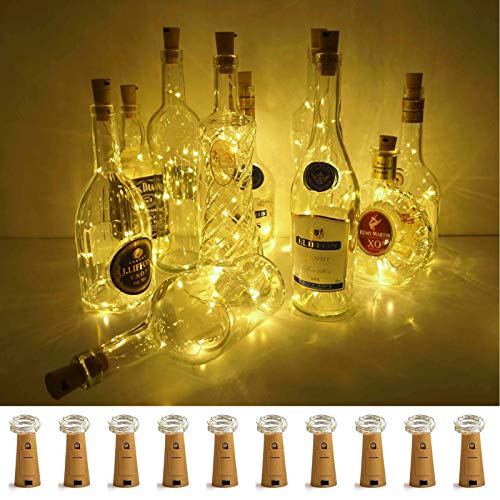Wine Bottle Lights with Cork, LoveNite 10 Pack Battery Operated LED Cork Shape Silver Wire Colorful Fairy Mini String Lights for DIY, Party, Decor, Christmas, Halloween,Wedding(Warm White)