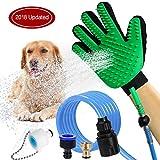 HEQUN Haustier Duschkopf, Haustier Badewerkzeug Duschkopf für Hunde mit Bürste, Haustier Dusche Sprayer, Haustier-Badewerkzeuge, Hundedusche, Schrubber, für Den Innen- und Außenbereich (Grün)