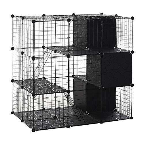 PawHut Pet Playpen with Door Storage Shelf for Kittens Chinchillas and Pet Minks