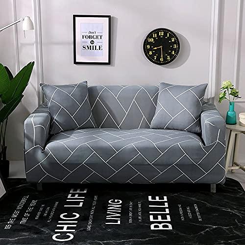 PPOS Fundas de sofá elásticas a Cuadros Funda de sofá para Sala de Estar Funda para sofá Gran felxibilidad Poliéster A10 1 Asiento 90-140cm-1pc