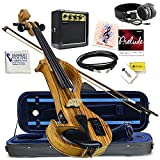 Electric Violin Bunnel Edge Outfit 4/4 Full Size (Light Zebrano)- Electric Amp, Carrying Case and Accessories Included - Headphone Jack - Highest Quality with Piezo ceramic pick-up By Kennedy Violins