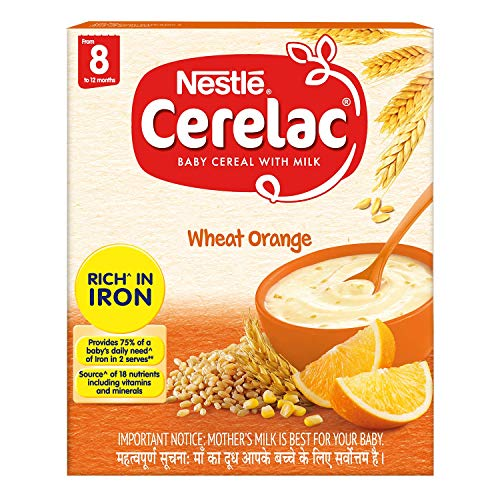 Nestlé CERELAC Baby Cereal with Milk, Wheat Orange – From 8 Months, 300g BIB Pack