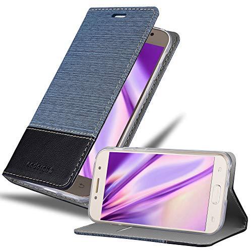 Cadorabo Hülle kompatibel mit Samsung Galaxy A5 2017 (7) Hülle in DUNKEL BLAU SCHWARZ Handyhülle mit Standfunktion & Kartenfach im Stoff