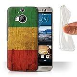 Phone Case for HTC One M9+/Plus Rasta Reggae Art Wood Effect Pattern Design Transparent Clear Ultra Soft Flexi Silicone Gel/TPU Bumper Cover