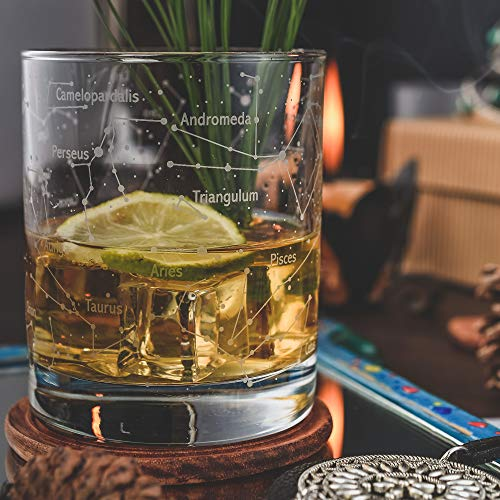 Product Image 5: Greenline Goods Whiskey Glasses – Northern Summer Sky & Constellations (Set of 2) – Etched 10 Oz Tumbler Gift Set – Old Fashioned Rocks Whiskey Glass